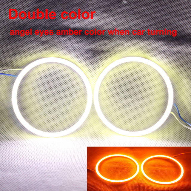 Double Color Angel Eyes COB DRL Light Led Ring For Car Headlights ...
