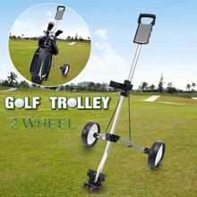 Portable Golf Pull Cart Adjustable Golf Trolley Cart 2 Wheel Push Pull Golf Cart Aluminium Alloy Foldable Trolley(China)