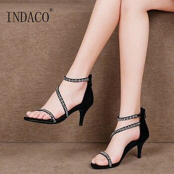 Sandals Women Summer Shoes Women Sandals Rhinestone Suede Platform Sandals Thin Heel Zipper
