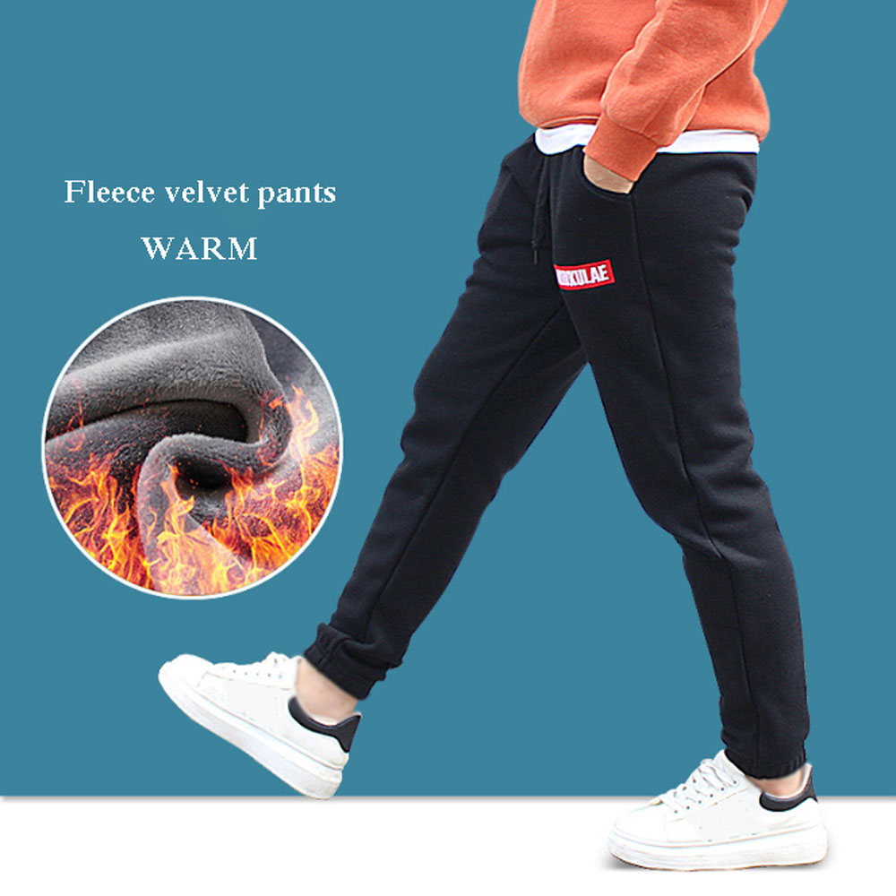 Teen Boy Tight Pants Winter Warm Fleece Long Trouser For Boy Thick Velvet Sport Pant 5-13 Year Teenager Casual Elasticity Pant