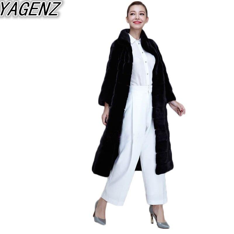 YAGENZ Large size Coat Female Winter 2017 Female Imitation Fox Fur Rex Rabbit Fur Grass Faux Fur Coat Long Section Mink Fur Coat