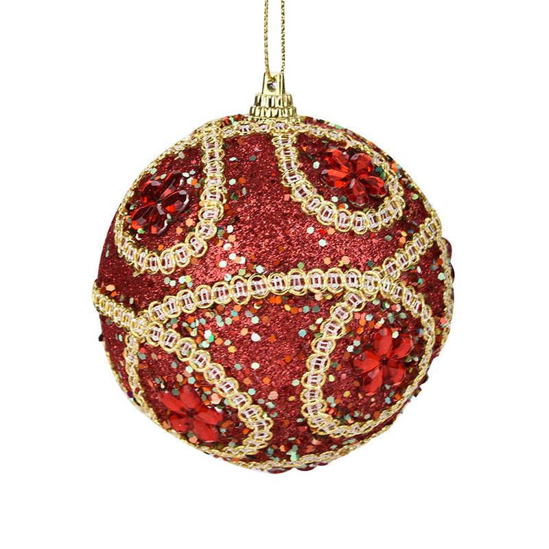 1Pc Christmas Santa Rhinestone Glitter Baubles Ball 8cm Xmas Tree Ornament Decor Gift New Years Home Decor #2o29 (8)