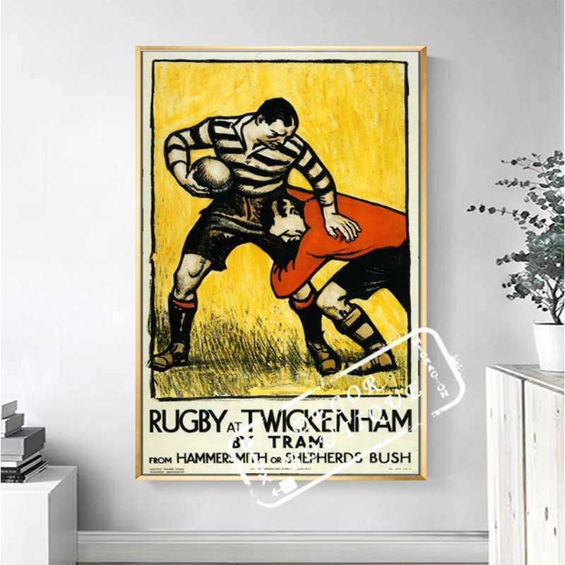 Винтаж Рекламный Плакат регби на Twickenham спортивные классические холст картины