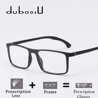 TR90 Prescription Glasses Rectangle Computer Myopia Transparent Optical Prescription Eyeglasses For Men Ultralight #MA09 08