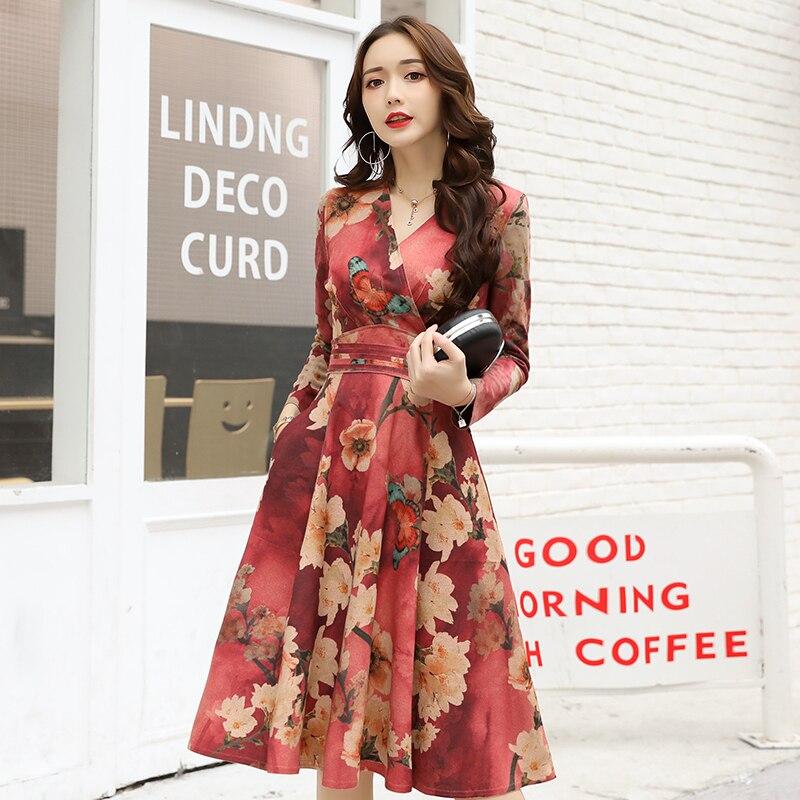 Mode Femmes Imprimer Automne Fleur Manches De Floral Robes Casual Pour Robe Rouge Printemps Longues Vêtements 5RYIwI