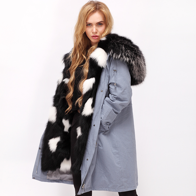 best sneakers 72e35 0f9eb US $556.0 |Reale della pelliccia di fox donne parka parka all'interno di  volpe pelliccia parka con pelliccia di Procione naturale in Reale della ...