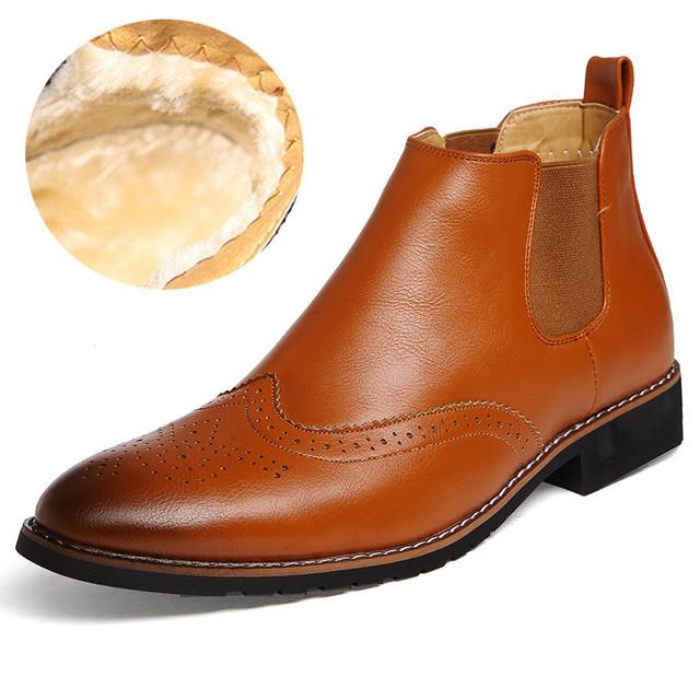 Ankle Boots de inverno Para Os Homens de Algodão de Pelúcia Botas Chelsea Alta Encabeça Couro Dedo Apontado Casamento Sapatos de Fundo de Borracha Bota Masculina