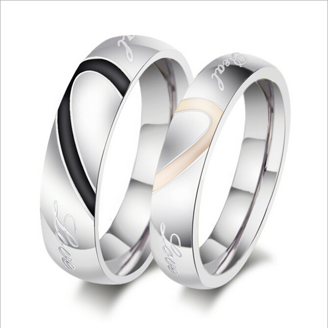 High Quality Heart Shape Engagement Rings Men Women Titanium