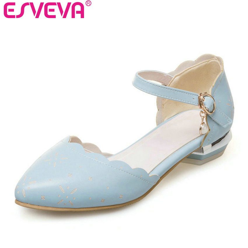 цены ESVEVA 2017 Women Pumps White Pink Ankle Strap Pointed Toe Summer Shoes Soft PU Square Low Heel Elegant OL Shoes Big Size 34-43