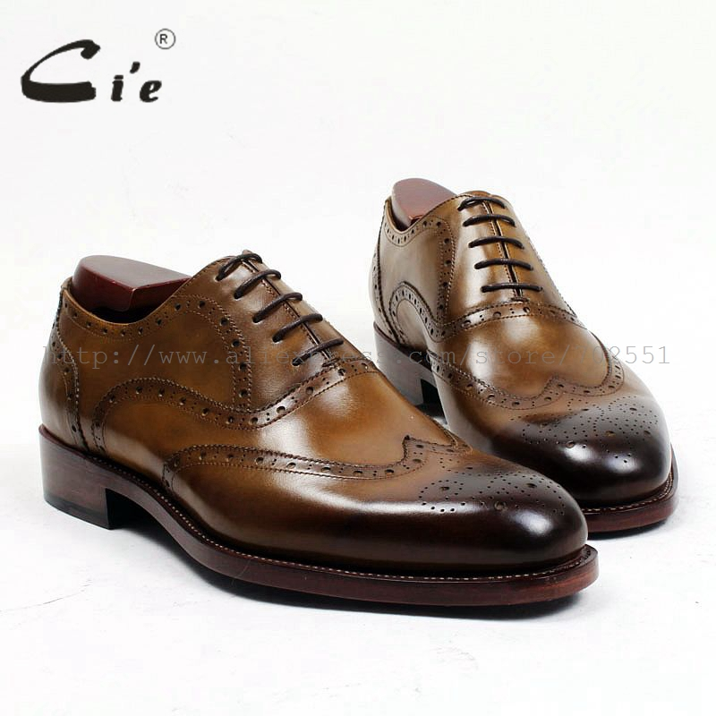 cie Free Shipping Handmade Genuine Calf Leather Men's Dress Shoe Goodyear Welted Full Brogues Business Career Brown Shoe OX477 bespoke mens goodyear welted shoes handmade custom pointed brock head layer cowhide free shipping red brown dress shoe