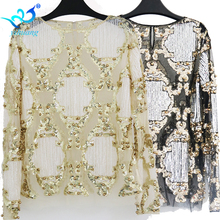 Women Fashion Sequined Blouse Tops See-through Sexy O-neck Mesh Blusas Shirt Long Sleeve Floral Beading Lady Blouses 2 Colors