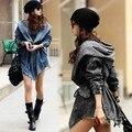 Women's Hot Denim Coat Hoodie Outerwear Hooded Jeans Coat  New
