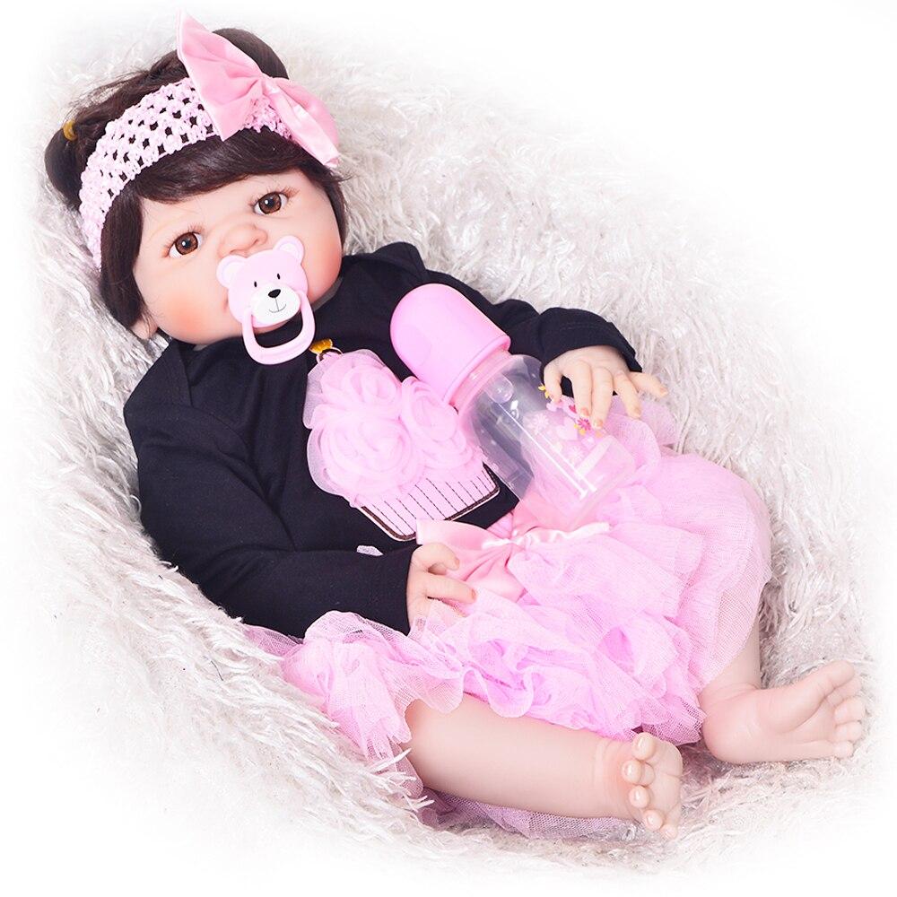 KEIUMI реалистичные 23 дюймов Reborn Девочка живые куклы полный силиконовый корпус 57 см реалистичные Новорожденные Bonecas Детские куклы для малыша Р...