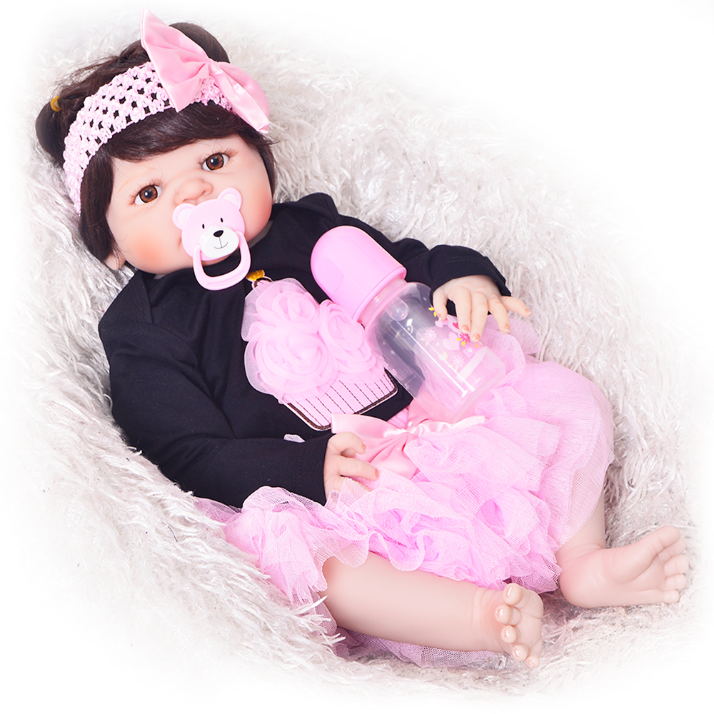New Arrival Full Silicone Vinyl Baby Dolls Reborn Girl 57 cm Realistic Alive New Born Bonecas 23'' Babies Doll Toy For Children 23 inch full silicone vinyl bebe reborn baby dolls lifelike princess girl handmade toy realistic doll baby alive christmas gift