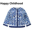 2016 Spring/Autumn Brand Girls Outwear 1pc girls clothes 3-8Y girls jacket blue and white porcelain printed coat for girls