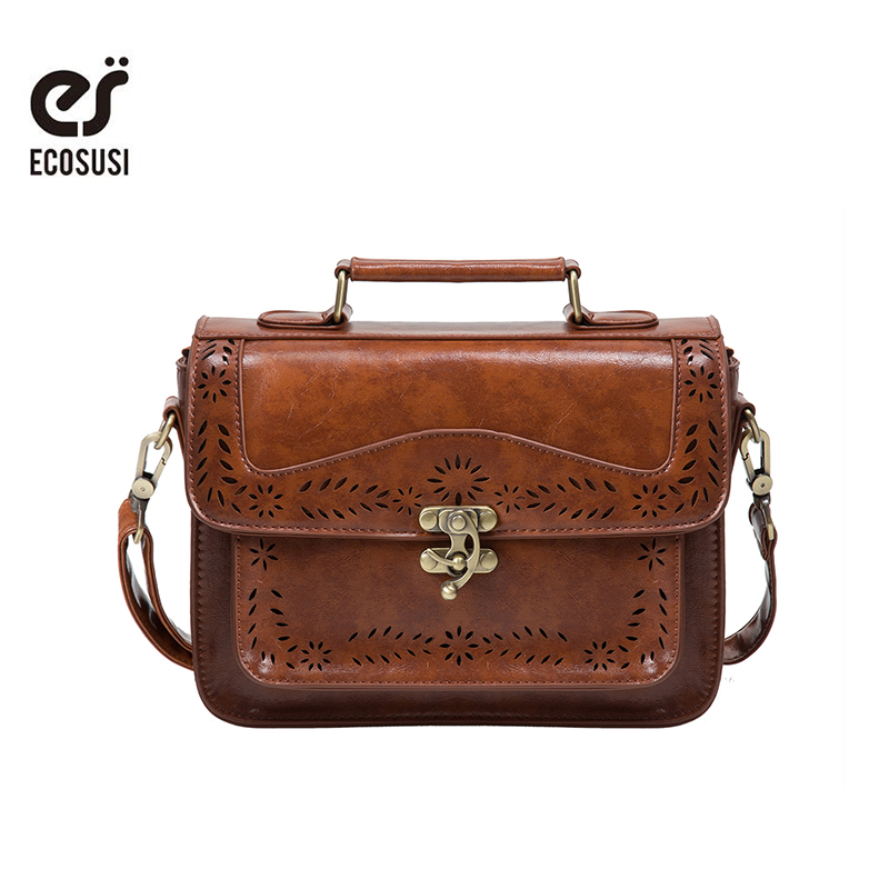ECOSUSI Retro Women Messenger Bag Vintage Satchel Bags Shoulder Briefcase for Women Bolsas Femininas satchel retro british school women messenger bag embossed hollow out shoulder briefcase department of forestry casual satchel