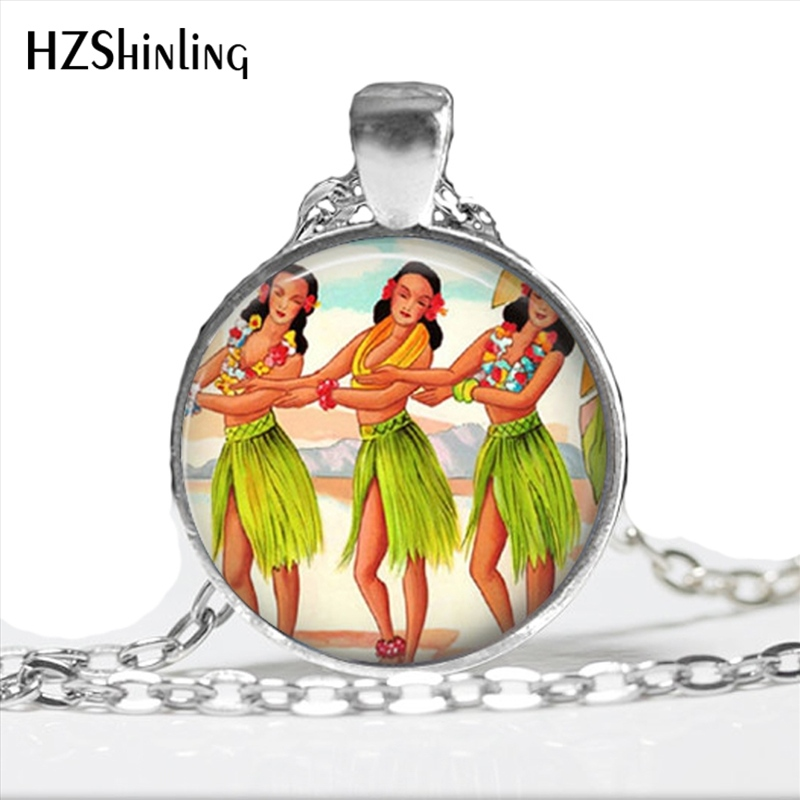 2017 New Arrival Hula Girl Necklace Handmade Hawaii Tropical Island Kitschy Jewelry Glass Dome Hawaiian Art Pendant HZ1