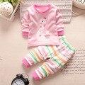 New baby девушки мальчик одежда набор новорожденных мультфильм одежда Осень хлопок рубашка новорожденных девочек одежды Костюм