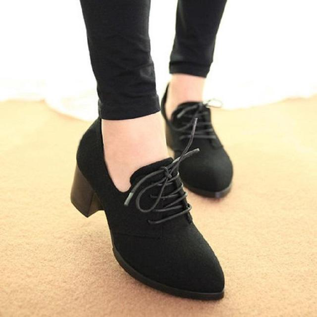 buy online 7f8be 9f091 New spring woman shoes stylish comfortable Ladies high-heeled shoes pointed  retro lace wild single shoes women work shoes