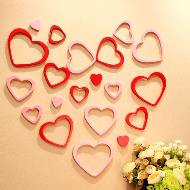 5 pcs/set Wooden heart shape 3D three dimensional wall stickers ...