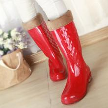 woman Knee High Rubber water shoes New Women's Rain Boots Low Heels waterproof wellies ladies rainboots free shipping