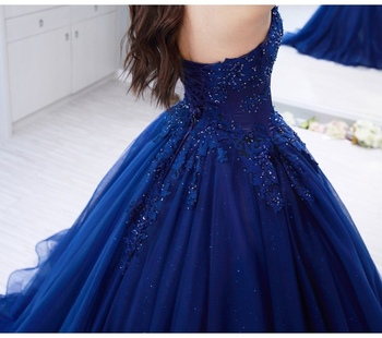 Vintage blue Lace Sleeveless Ball Gown Prom Dresses 2019 Applique Beading Sweetheart Neckline Custom Made Evening Dress 4