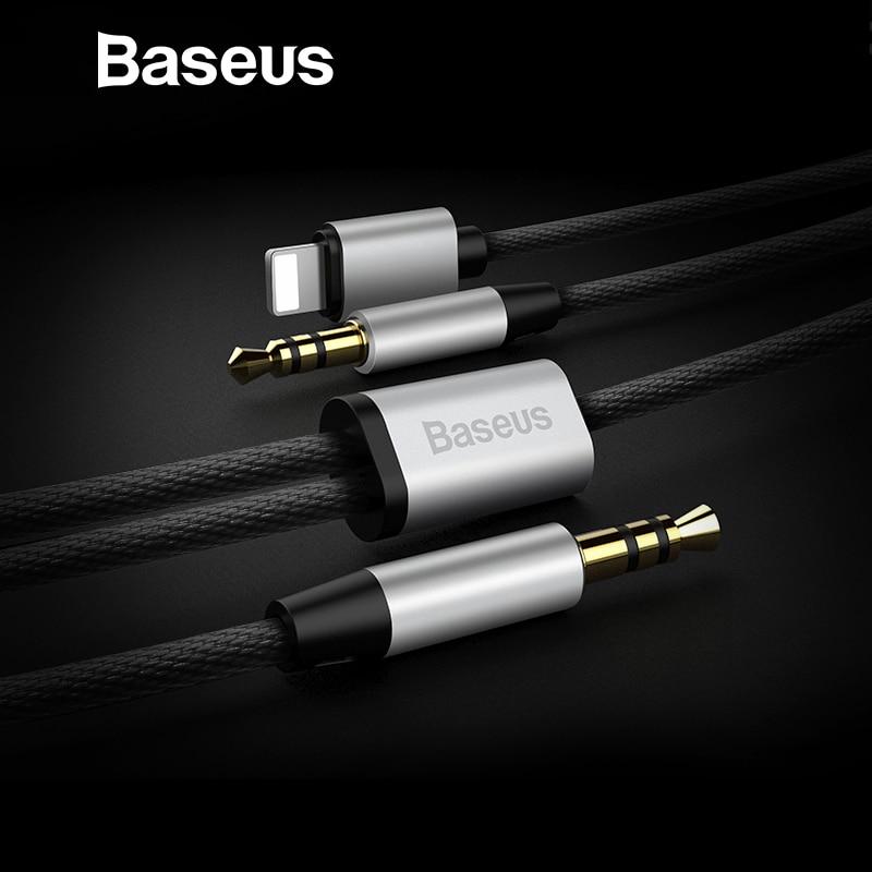 Baseus 2IN1 Cable de Audio para iPhone Jack 2Aux Jack adaptador de Cable para iPhone 8pin a 3,5mm Jack altavoz auriculares Cable Aux Coche
