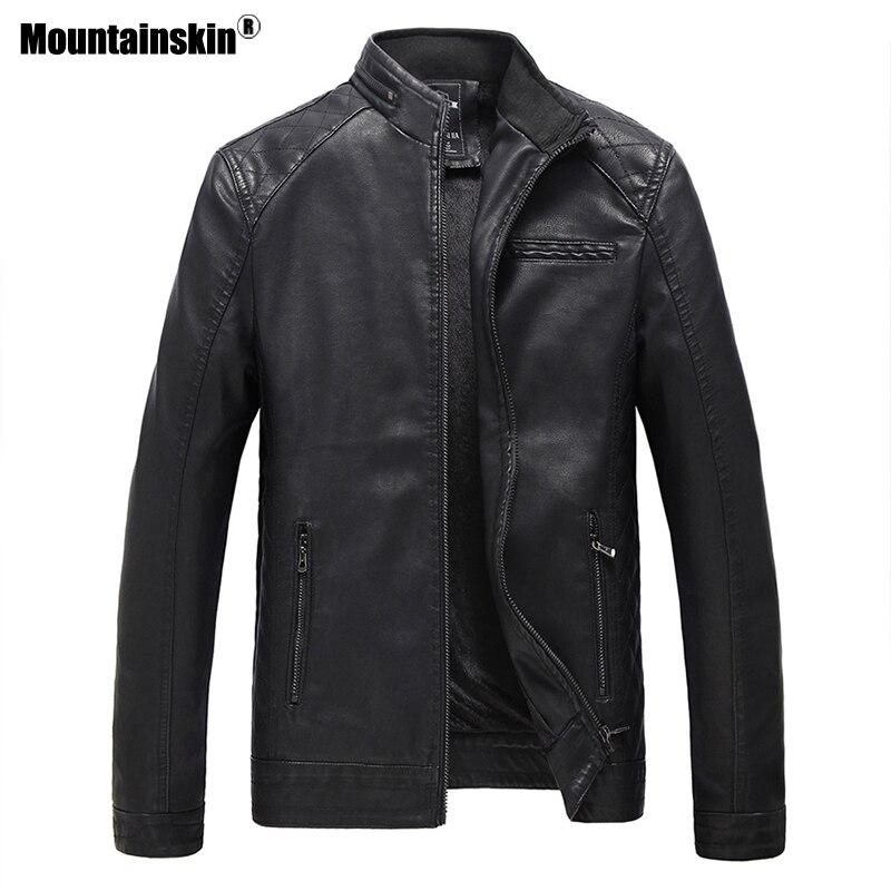 Mountainskin Herren Leder Jacke Marke Hohe Qualität PU Mäntel Oberbekleidung Männer Business Winter Faux Pelz Männlichen Jacke Fleece 6XL SA537