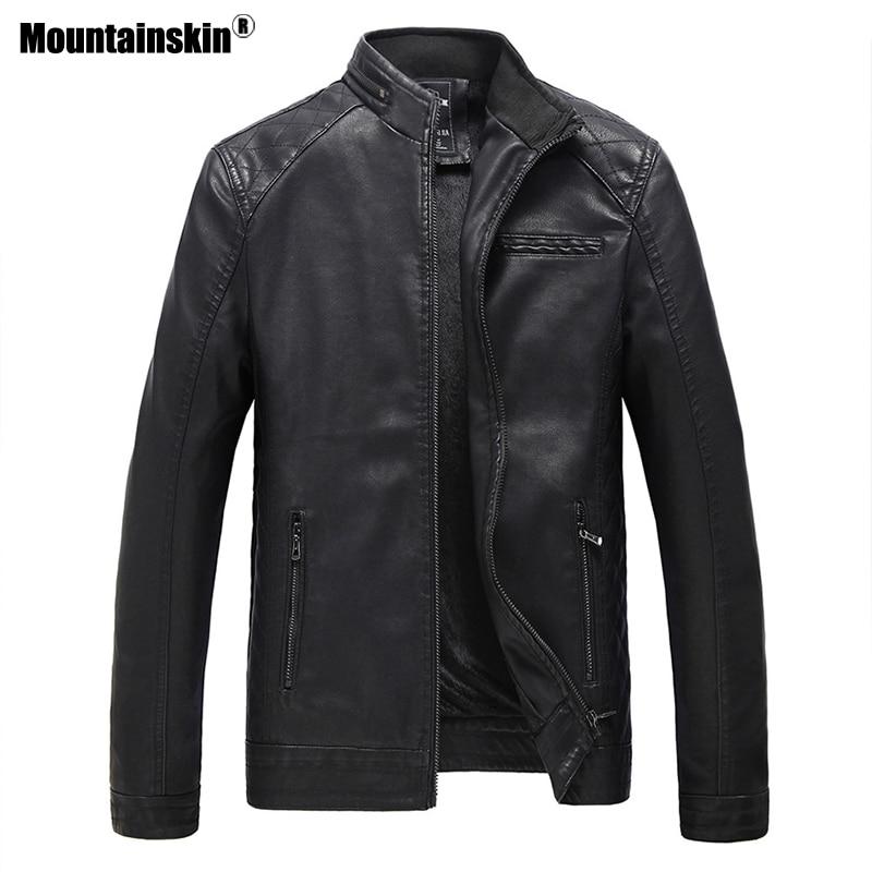 Mountainskin Mens Leather Jacket Brand High Quality PU Coats Outerwear Men Business Winter Faux Fur Male Jacket Fleece 6XL SA537