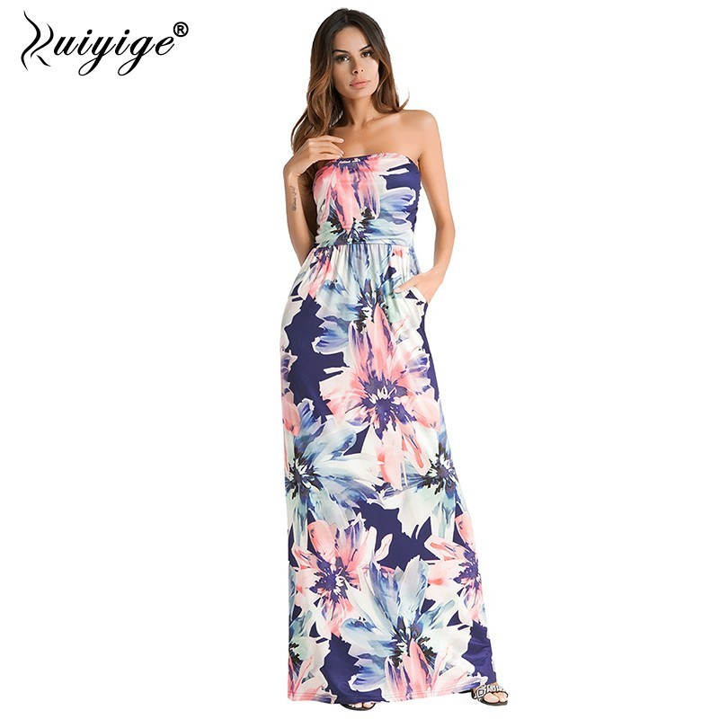 079cad6efe Ruiyige 2018 Summer Strapless Beach Long Dress Floral Print Sexy Sundress  Women Party Tunic Vestidos Boho Elegant Maxi Robes