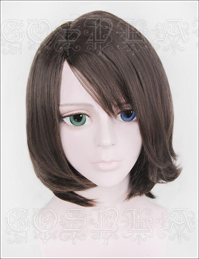 Anime FF10-2 final fantasia x summoner yuna cosplay perucas curto marrom em linha reta resistente ao calor peruca de cabelo sintético + peruca boné