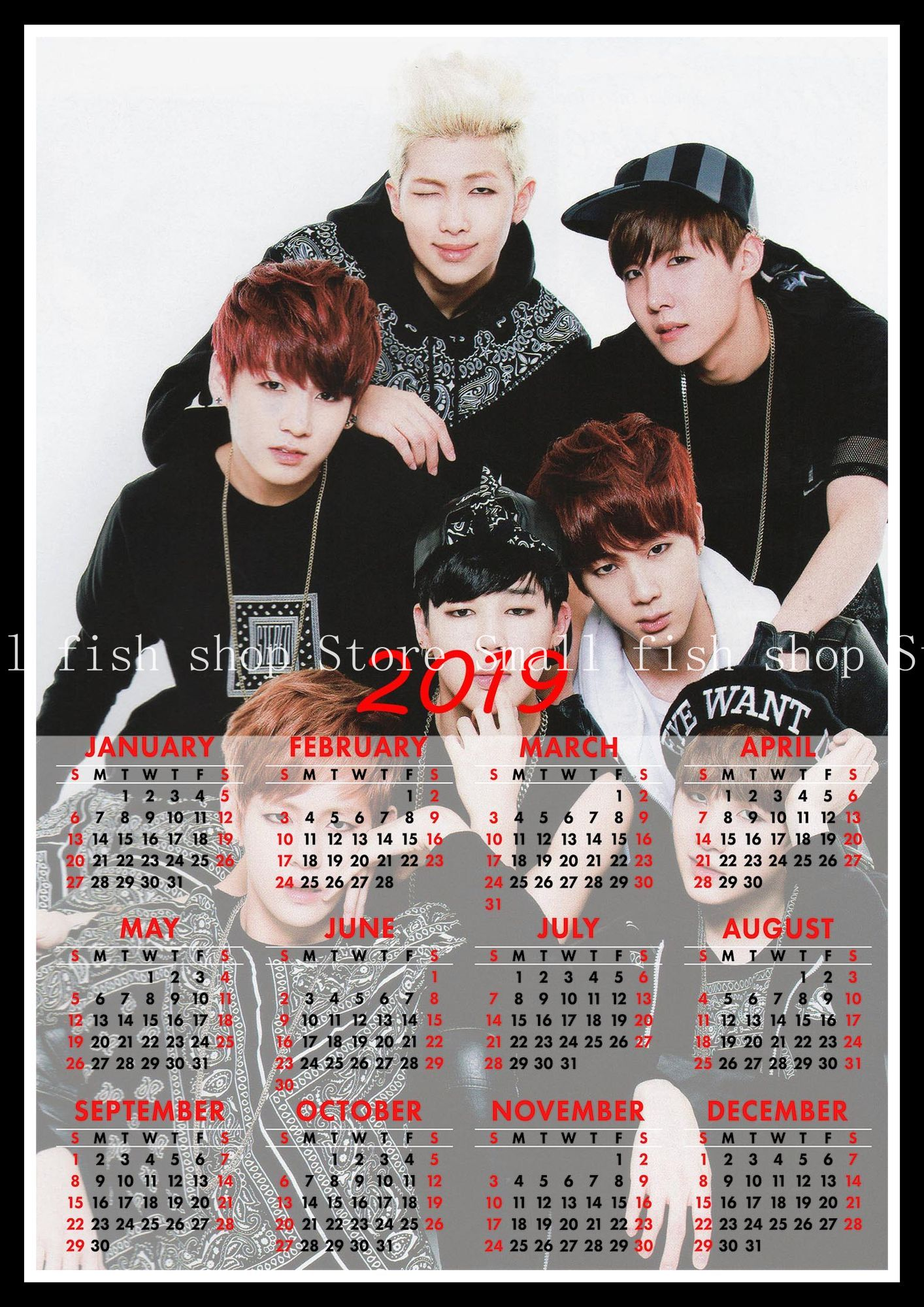 Korean band 2019 calendar poster Home Furnishing decorative white coated paper Wall Sticker Home Decora in Wall Stickers from Home Garden