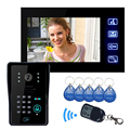 "7"" LCD Video Door Phone Doorbell Bell Intercom Touch Key System Video Camera With Code Keypad Lock Remote Free shipping"