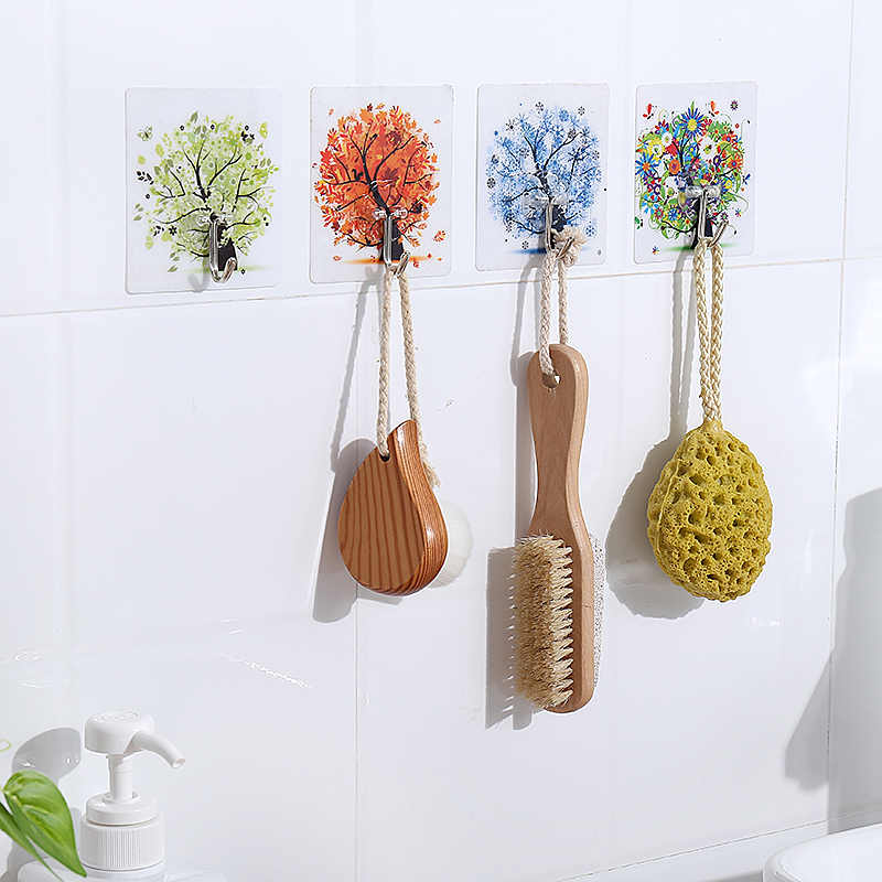 Key & Decorative Hooks Four season tree hook strong punch-free glue hook bathroom door kitchen wall paste no trace hook
