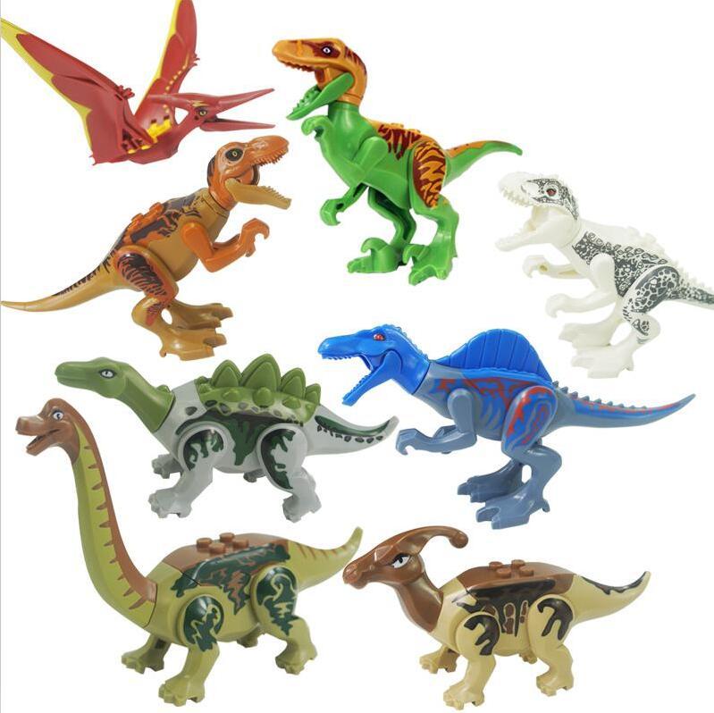 Single sales Super Heroes Jurassic World Dinosaurs Spinosaurus Tyrannosaurus Rex Building Block Action Toys Compatible legoingly
