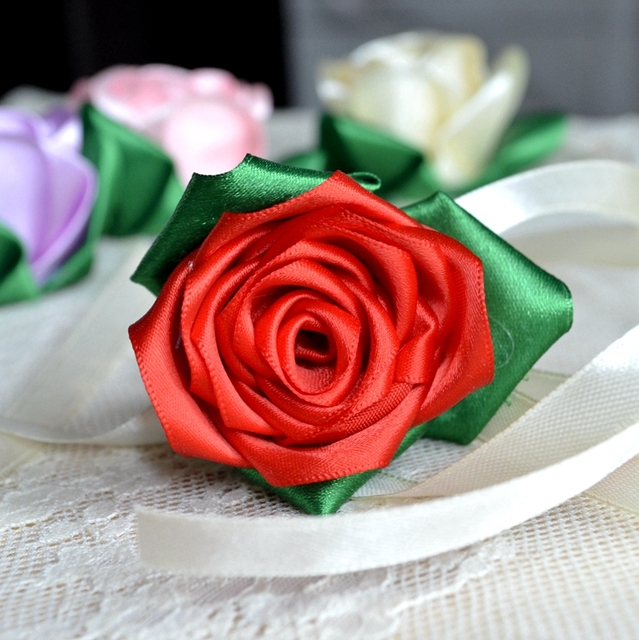 014cdb9de7f5 19 Colors Rose Wrist Corsage Bridesmaid Sisters hand flower silk ribbon  rose wedding guest wrist flowers corsages ramo de novie