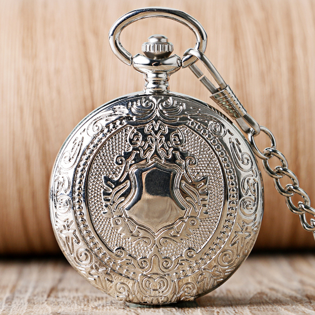 Luxury Silver Shield Pattern Round Dial Mechanical Pocket Watch