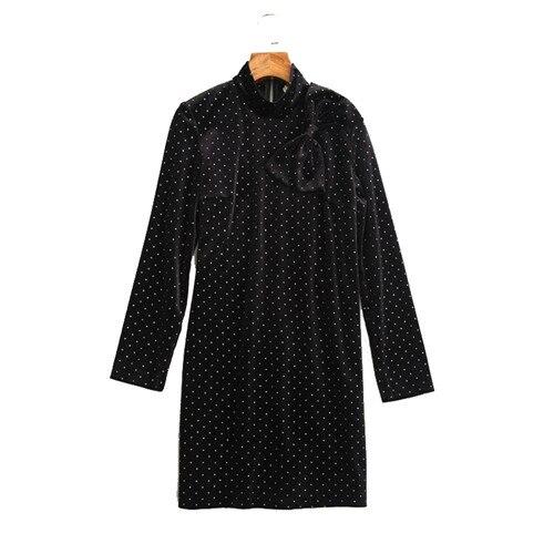 a89b1291dfce Turleneck Mini Manches Zip Robe Blanc Point Longues 2018 Automne Femmes  Noir Robes Grand Hiver Style ...