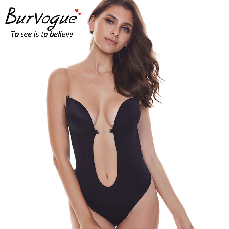 be66efc1c4e12 Burvogue Sexy Deep Plunge shapewear Thong Backless Deep U Body Shaper  Underwear For Dress Push Up Women Bodysuit Clear Straps