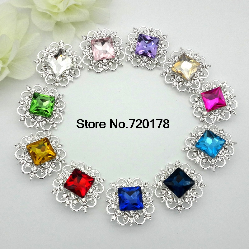 33mm 15colors Large GLASS Christmas Metal Rhinestone Buttons Square  Rhinestones Wedding Bouquets Button 120pcs RMM121-in Buttons from Home    Garden on ... 442a6d4d33b3