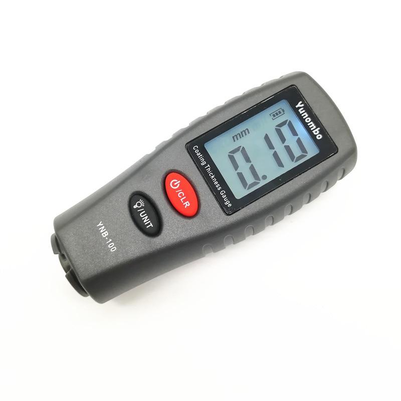 Mini jauge dépaisseur de revêtement numérique jauge dépaisseur de peinture de voiture jauge dépaisseur de testeur dépaisseur de peinture avec rétro-éclairage YNB-100