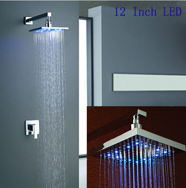 12 Inch LED Colors Changing Rain Shower Set Faucet Wall Mount Mixer Top Sprayer 3 color changing bath rainfall shower 16 round top sprayer w arm wall mount