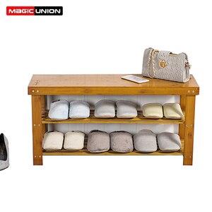 Image 1 - Magic union porta sapato banco de madeira maciça de duas camadas sapato armário minimalista moderno assento sofá fezes sapato rack de armazenamento fezes