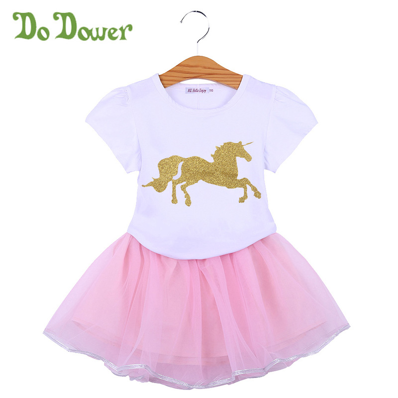 Summer Fashion Kids Girls Dress Princess Outfits Set Unicorn Short Sleeve Printing Shirt And Skirts Children Girl Suits Clothing newborn toddler girls summer t shirt skirt clothing set kids baby girl denim tops shirt tutu skirts party 3pcs outfits set