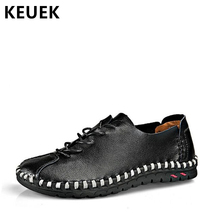 цены New Arrival Men Flats Casual Leather shoes Hand-sewing Lace-Up Loafers Genuine leather Soft Driving shoes Moccasins 02C