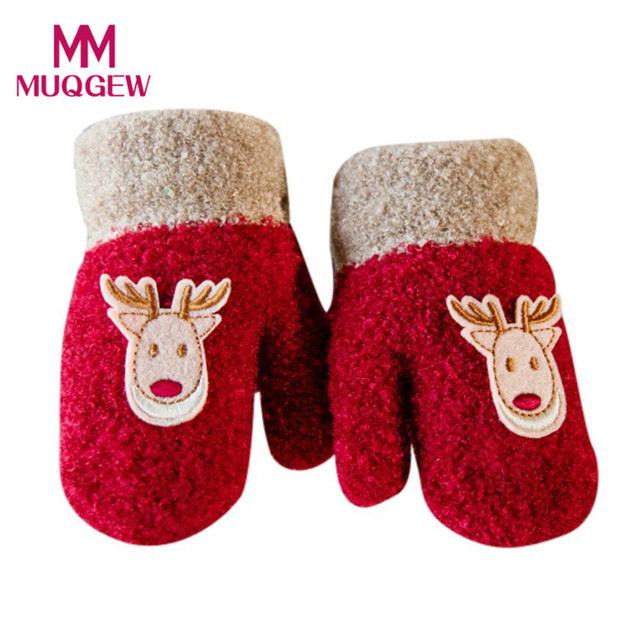 christmas deer print gloves with rope snow gloves kids mitten children knit cotton blendflock warm kid - Christmas Mittens