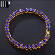 Hip Hop 1Row Bling CZ Iced Out Rhinestone Cubic Zirconia Bracelet Tennis Chain Bracelets For Women Men Jewelry Blue Red Black(China)