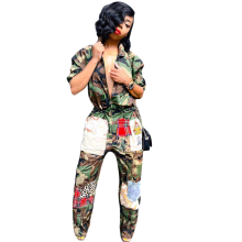 2018 Full Sleeve Autumn Winter women Overalls Jumpsuits camouflage Patchwork Outfits casual sexy fashion Bandage rompers