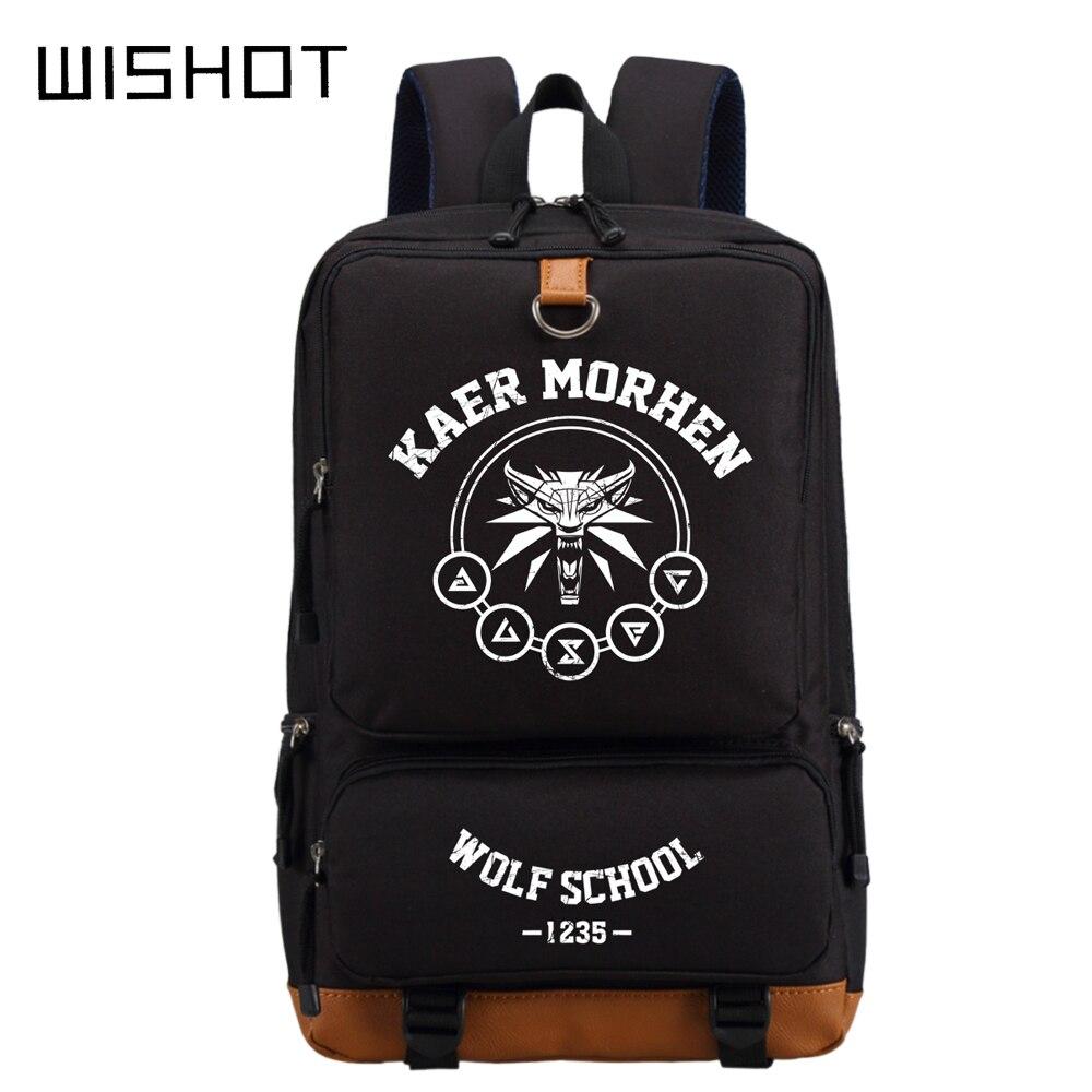 WISHOT The Witcher 3 Kaer Morhen Wolf School Wild Hunt Backpack Cool Boy School Bag The