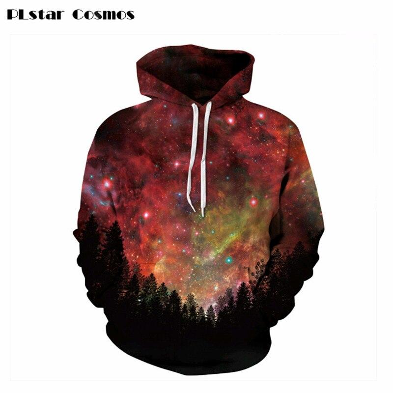 PLstar Cosmos 3D sweatshirts casual pullovers Print Night Trees Space Galaxy hoodies 2018 Fashion Men/Women Sweatshirt jumper